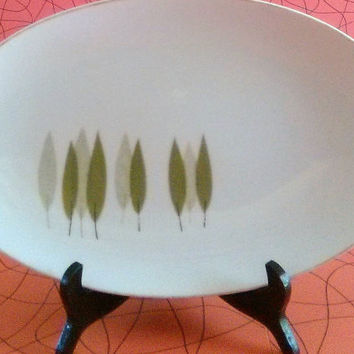 Vintage Noritake Sugi Platter Mid Century Modern Noritake China Mid Century Atomic 6030  Made in Japan Green Leaves W/Tan Or Black Stems