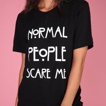 Normal People Scare Me Black Graphic Unisex Tee