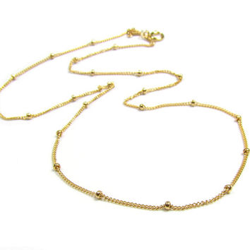 Beaded Satellite Chain-- 14kt Gold filled, Rose Gold Filled or Sterling Silver, Layering Chain