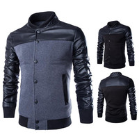 Color Contrast Leather Sleeve Varsity Jacket