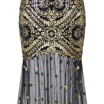 Angel-fashions Women's Sleeveless V-Neck Sequins Lace Up Evening Dress
