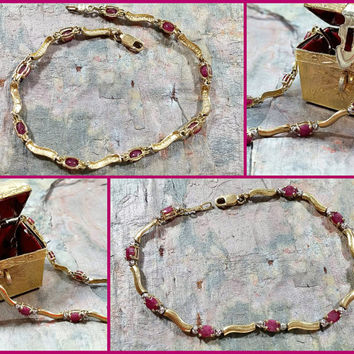 Vintage 10k Tennis Bracelet Yellow Gold Rubies Deep Pink Created Delicate yet Sturdy Two Tone Yellow and White Gold Lovely Gift for Her Nice