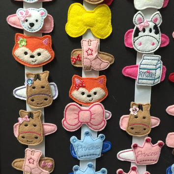 Felt hair clippies! Baby hair clips,2.50 each. Mix and match, Embroidered hairclips, custom, bling,glitz,toddler, cute!