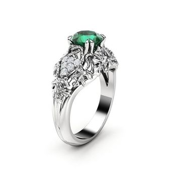 d5ed6428e1caf Emerald Engagement Ring White Gold Ring Art Deco Engagement Ring