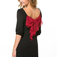 Gameday Bow Back Solid Dress -Black/Red