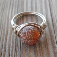 Handmade Dragon Veins Agate Silver Ring Size 7 Dragon Veins Agate Bead 10 Mm Alpaca Non Tarnish Silver Wire Brand New