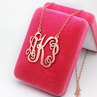 Monogram necklace,customizable jewelry,Rose Gold Plated,Personalized Monogram,925 Sterling silver