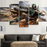 5 Pcs Star Wars Warrior Boba Fett Canvas Wall Art Framed Picture Home Decoration