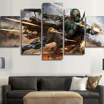 5 Pieces Star Wars Warrior Boba Fett Wall Art Picture Home Decoration Living Room Canvas Print Wall Picture Printing On Canvas