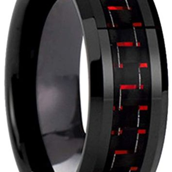 CERTIFIED 8mm Black Tungsten Carbide Black Red Carbon Fiber Inlaid Wedding Band Ring