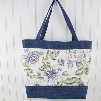 Denim and Floral Print Large Tote Bag, Farmers Market Bag, Fold Up Grocery Bag, MK120