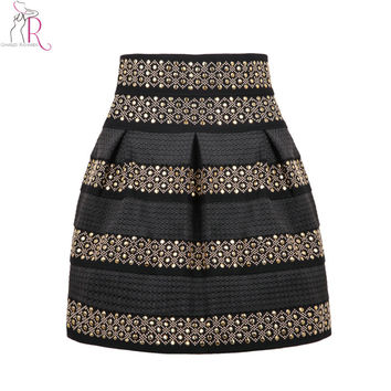 Black High Waist Golden Rivet Striped Skirt Studded Punk Skirt Elastic Waistband One Size 2017 Spring Latest New