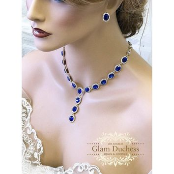 Royal Blue Oval Crysatl Bridal Necklace and Earring Set