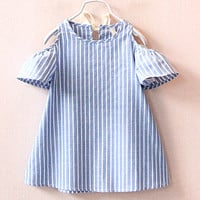 New girls dress 100% cotton striped vestido infantil toddler kids outfit summer children clothing baby girl clothes dresses