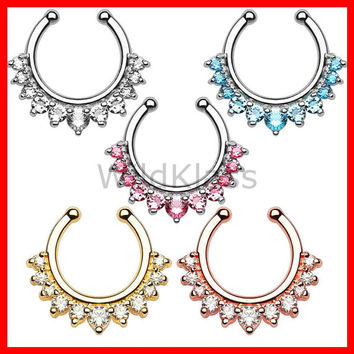 Single Line with Multi Gems Non-Piercing Septum Hanger Fake Septum Ring Faux Nose Ring Rose Gold Pink Aqua Clear Gold Sold by Piece