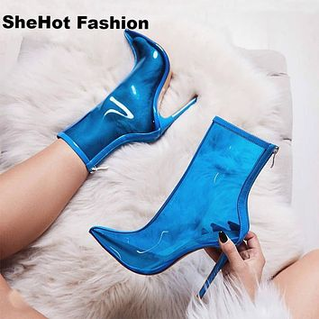 Women Fashion Transparent High Heel Ankle Boots