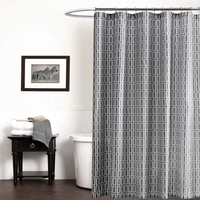 70x72inch Gray Shower Curtain Polyester Geometric Printed Waterproof Bathroom Curtains