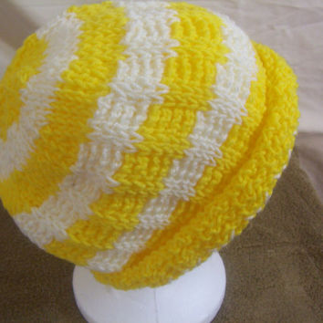 Hand Crocheted Tunisian Stitch Yellow and White Stripe Roll Brim Beanie Slouch Hat