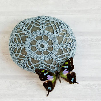 crochet lace stone blue gray // rustic beach // river rock // housewarming gift // cottage chic // ring bearer pillow // bowl element