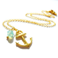 Anchor Necklace, Mint Gold, Swarovski Necklace, Gold Anchor Necklace, Nautical Necklace, Dainty Necklace, Tiny Mint Necklace, Tiny Anchor