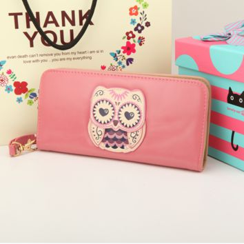 Owl Nighthawk Pattern Wallet with Mental Zipper and Handle