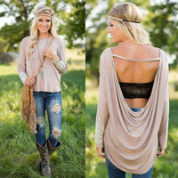 Sexy Backless Summer Fashion Women Casual Long Sleeve Lace Blouse T Shirt #WX