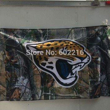 Jacksonville Jaguars BANNER Camo Large Outdoor Flag 3ft x 5ft Football Hockey USA Flag