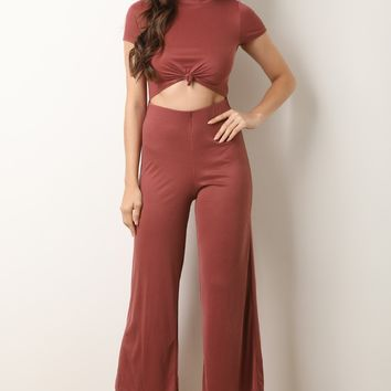 Front Tie Midsection Cutout Palazzo Jumpsuit