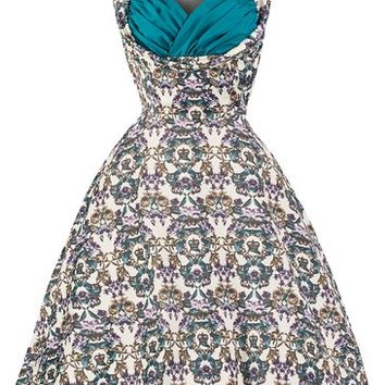 Lindy Bop 'Ophelia' Vintage 50's Majestic Floral Crown Print Swing Dress (2XL, White Blue)