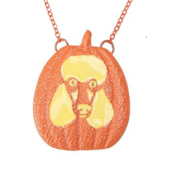 3019 Pumpkin Poodle Necklace Pendant Dog Lover Halloween Charms Memorial Gift Jewelry Necklace Women Choker Orange Lead Free