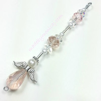 Car Accessory.  Light Pink Angel Rear View Mirror Charm.  Crystal Suncatcher.  October Birthstone.  Baby Girl Ornament