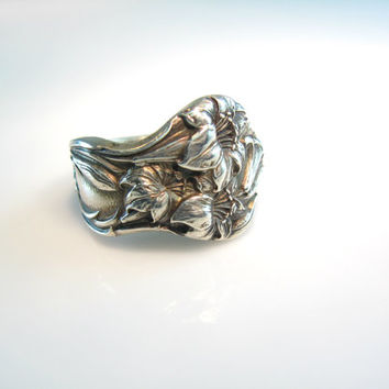 Flower Spoon Ring Sterling Silver Lily Antique Art Nouveau Whiting Co Size 8.5 to 8.75 Statement Jewelry Mother's Day Gift