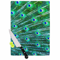 "Susan Sanders ""Teal Blue Peacock Feathers"" Photograph Cutting Board"