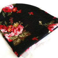 Black and Red Floral Knit Beanie