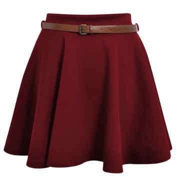 Ditzy Fashion Women's Belted Skater Flared Plain Mini Party Skirt, S/M Wine Red