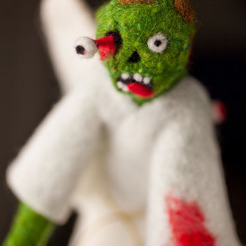 Zombie Angel Christmas Tree Topper, Needle Felted OOAK Art Doll