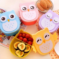 Cartoon Owl Lunch Box Food Container Storage Bento Microwave for Children Kids [8802219340]
