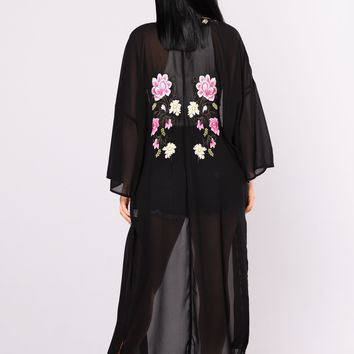 Cover Me In Embroidery Duster - Black