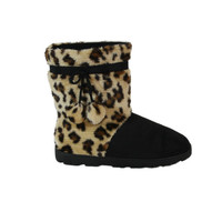Leopard and Black Micro Boot : Snooki : Happy Feet Slippers : BuyHappyFeet.com : snookislippers.com