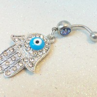 Bellybutton ring with rhinestone Hamsa hand and blue evil eye 14ga