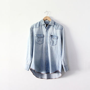 vintage Wrangler denim shirt / chambray snap up