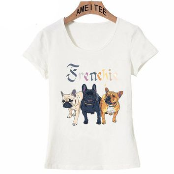 Three French Bulldog breed T-Shirt Cute Women T-shirt I Love My Friend Dogs Design Casual Tops Cute White Tees Summer clothing