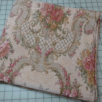 1.25 Yard Cut of 1990s Vintage Floral Tapestry Fabric, Woven Floral & Vase Tapestry, 52 Inches Wide, Home Decorating Fabric, Pillow Fabric