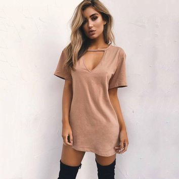 Hot Sale Strong Character V Neck T Shirts Sexy Slim One Piece Dress