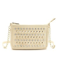 STUDDED RHINESTONE CROSS-BODY BAG