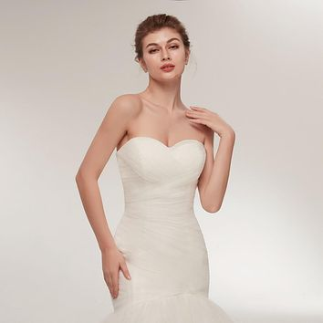 Mermaid Trumpet Pleated Sweep Train  Bridal Gown