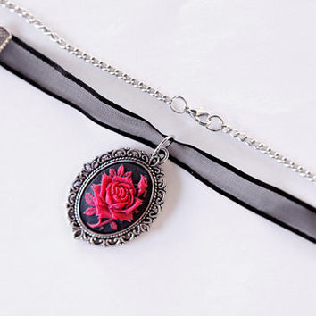 "Necklace ""Red Roses"", Half Chain, Half Satin Ribbons"