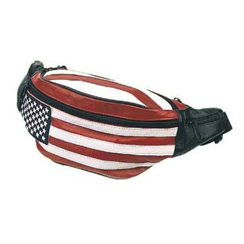 Leather Hip Pack, USA Flag Bag