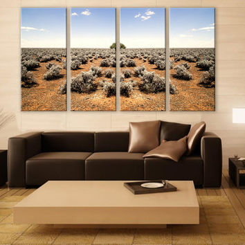 Horizon Sky Barren Desert LARGE Canvas 4 Panels Print Art Wall Deco Fine Art Photography Repro Print for Home and Office Wall Decoration
