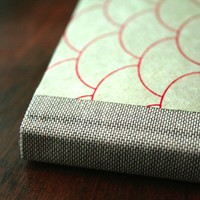 Mint and Red Fish Scale Hardcover Sketchbook